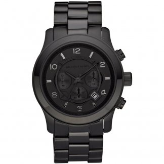 Men's Runway Black PVD Chronograph Watch MK8157