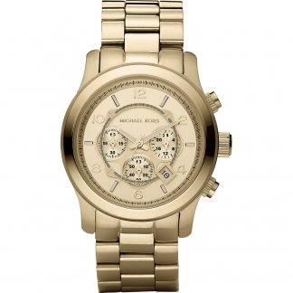 Men's Runway Gold Tone Chronograph Watch MK8077