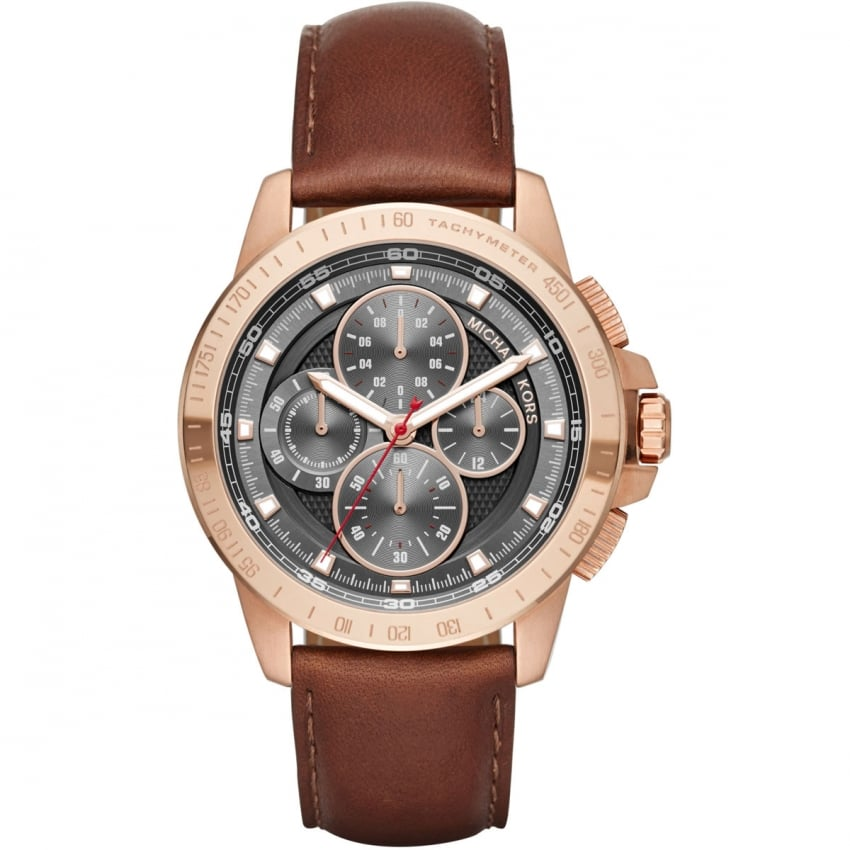 Michael Kors Men's Ryker Rose Tone Chronograph Strap Watch MK8519