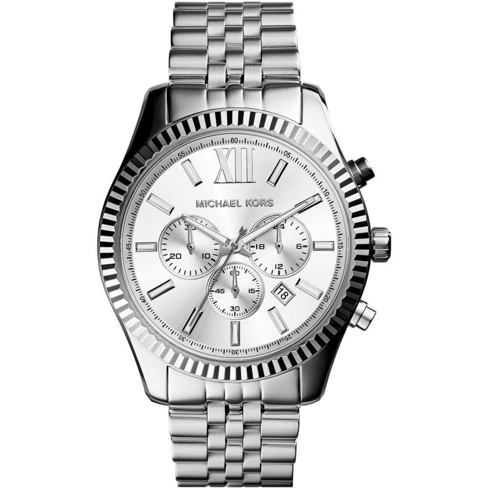 michael kors men 39 s lexington silver tone chronograph watch. Black Bedroom Furniture Sets. Home Design Ideas