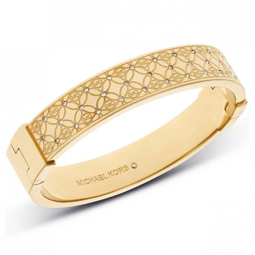 Michael Kors Monogram Gold Tone Crystal Set Bangle MKJ4471710