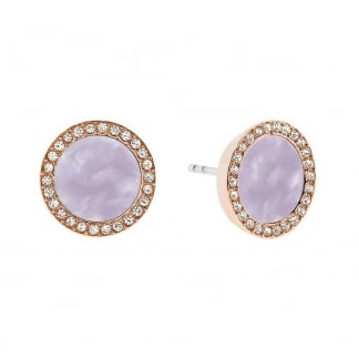 Rose Gold and Lavender Earrings Studs