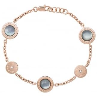 Rose Gold and Mother of Pearl Logo Station Bracelet MKJ5865791