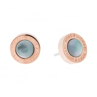 Rose Gold and Mother of Pearl Logo Studs