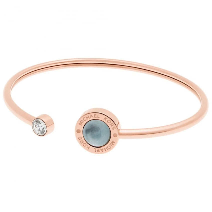 Michael Kors Rose Gold and Mother of Pearl Open Bangle MKJ5868791
