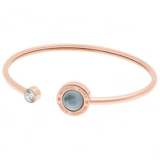 Rose Gold and Mother of Pearl Open Bangle
