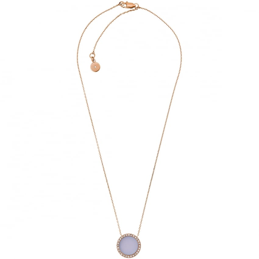 Michael Kors Rose Gold and Purple Stone Set Circle Necklace MKJ5417791