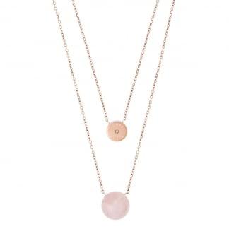 Rose Gold Quartz Layered Necklace MKJ5476791