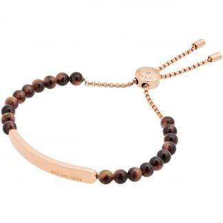 Rose Gold Tortoiseshell Beaded Slider Bracelet MKJ5587791
