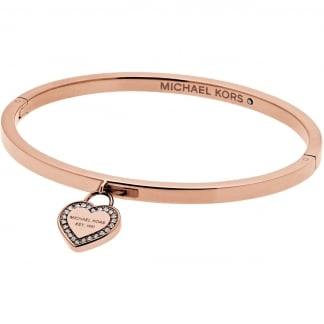 Rose Gold Crystal Set Heart Logo Bangle
