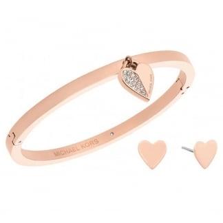 Rose Gold Earring and Bangle Heart Set MKJ5939791