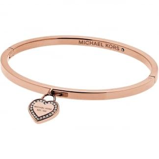 Rose Gold Crystal Set Heart Logo Bangle MKJ5039791