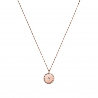 Rose Gold Logo Disc Necklace