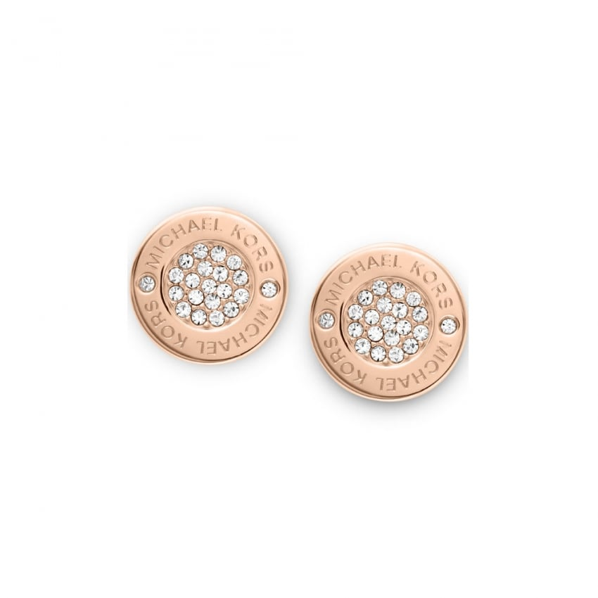 Michael Kors Rose Gold Logo Pave Stud Earrings MKJ3353791