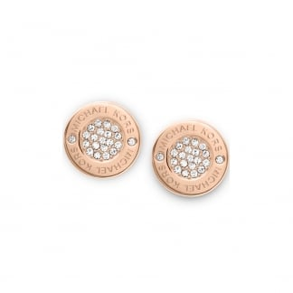 Rose Gold Logo Pave Stud Earrings