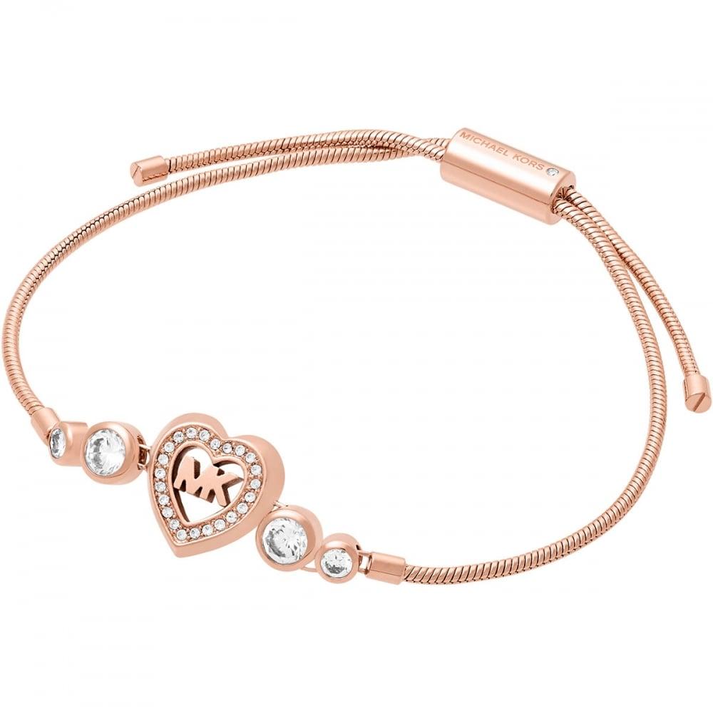 6f65955188675 Michael Kors Rose Gold MK Heart Bracelet - Jewellery from Francis ...