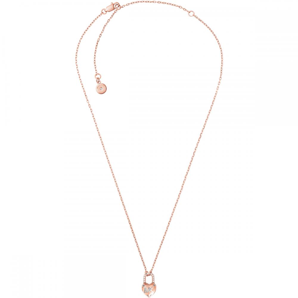 9320a1d9d145 Michael Kors Rose Gold MK Heart Padlock Necklace Product Code  MKJ7027791