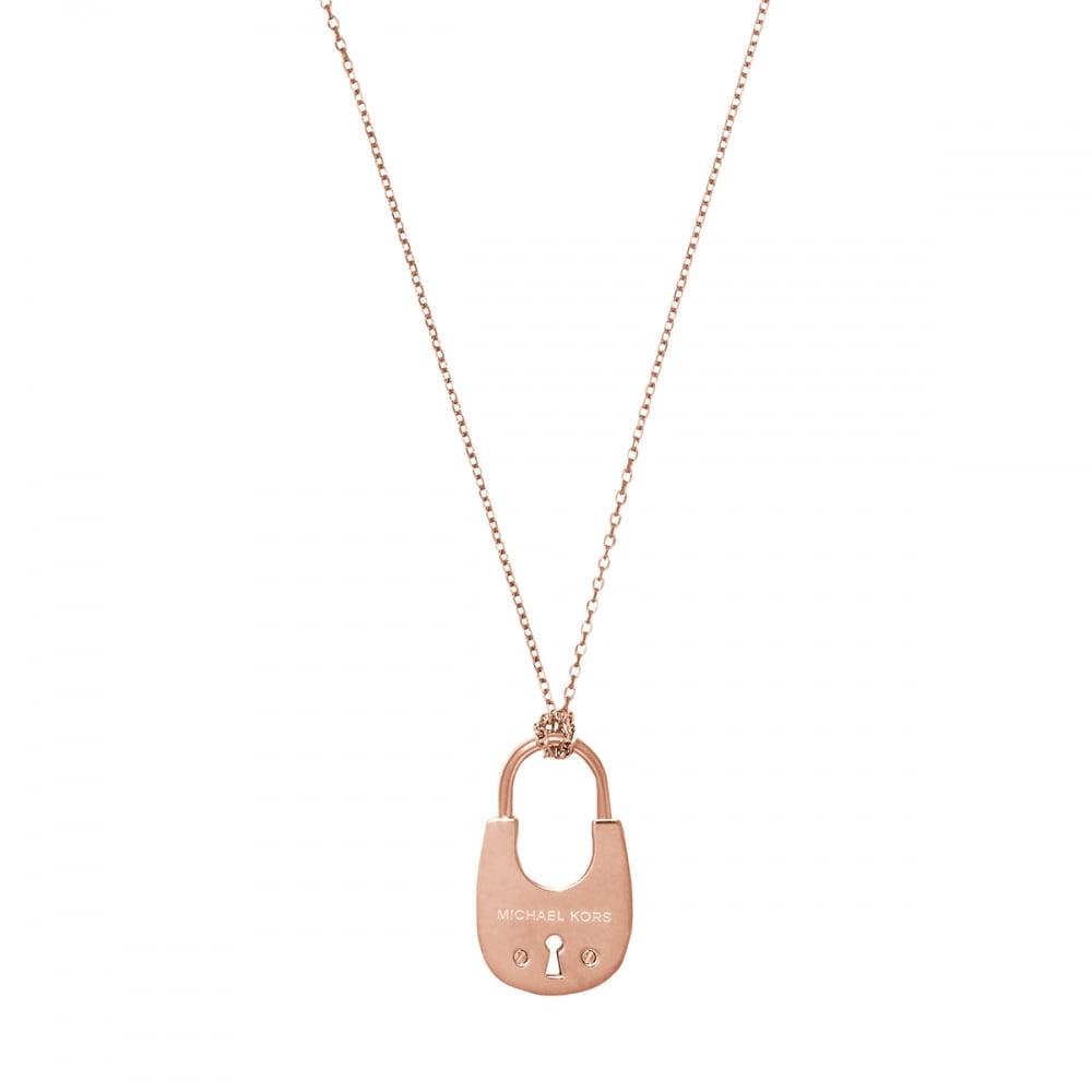 Michael Kors Rose Gold Padlock Necklace MKJ4894791 ...