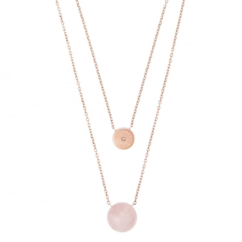 Michael Kors Rose Gold Quartz Layered Necklace MKJ5476791