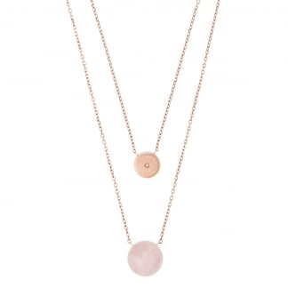 Rose Gold Quartz Layered Necklace MKJ5476791