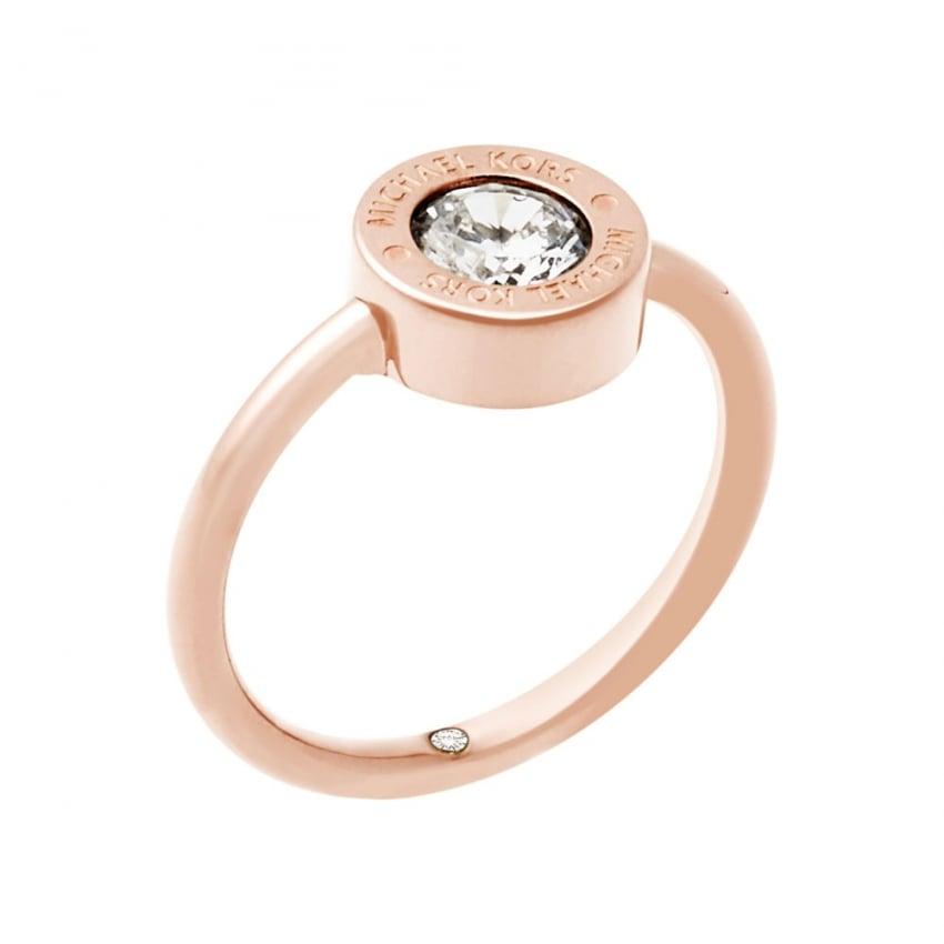 Michael Kors Rose Gold Round Cubic Zirconia Logo Ring MKJ5345791