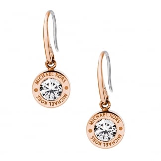 Rose Gold Round CZ Logo Drop Earrings