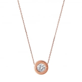 Rose Gold Round CZ Logo Necklace