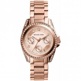 Ladies Rose Gold Steel Stone Set Mini Blair Watch MK5613