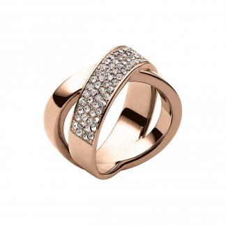 Rose Gold Stone Set Crossover Ring MKJ2869791