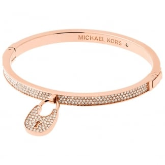 Rose Gold Stone Set Heritage Padlock Bangle