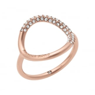 Rose Gold Stone Set Open Circle Ring