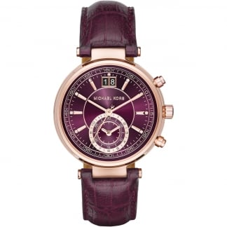 Sawyer Rose PVD Plum Leather Chronograph Watch MK2580