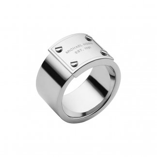 Silver Tone Logo Plaque Ring MKJ2658040