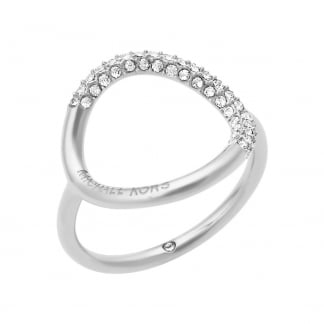 Stainless Steel Stone Set Open Circle Ring