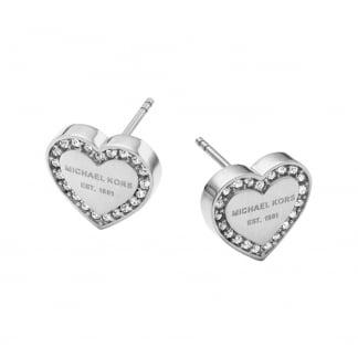 Steel Stone Set Heritage Heart Earring Studs MKJ3966040