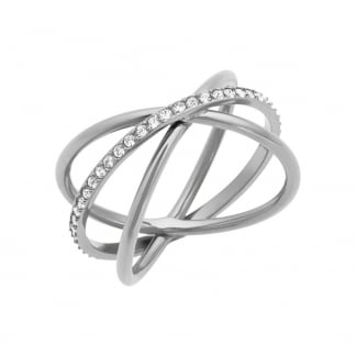 Stone Set Cross Over Brilliance Ring