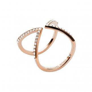 Stone Set Rose Gold Arrow Motif Ring MKJ3750791
