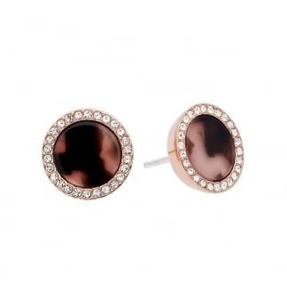 Stone Set Rose Gold Tortoiseshell Earring Studs MKJ5671791