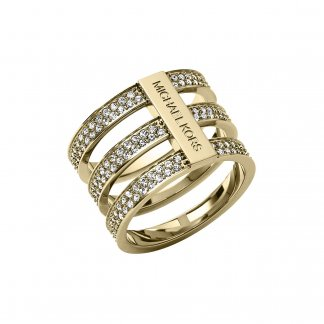 Yellow Gold Pave Set Triple Bar Ring