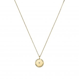 Yellow Gold Tone Logo Disc Necklace