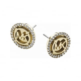 Yellow Gold Tone Stone Set Heritage Earring Studs MKJ2941710