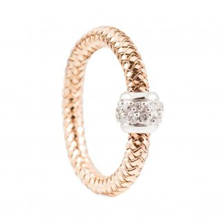 Mini Primavera Rose Gold Diamond Mesh Ring