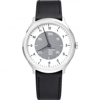 Swiss Helvetica No1 Black Leather Hybrid Smartwatch