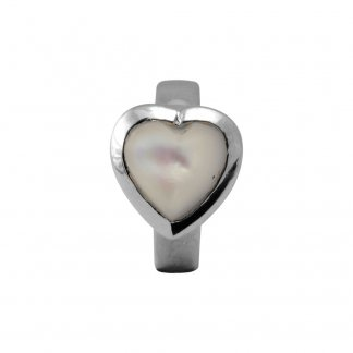 Mother of Pearl Heart Silver Charm