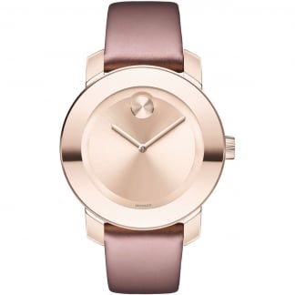 15105941ad6e3 Ladies Bold Rose Gold Dial Soft Rose Leather Watch