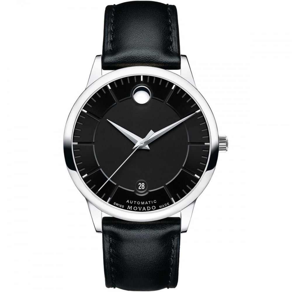 movado s 1881 automatic black leather watches