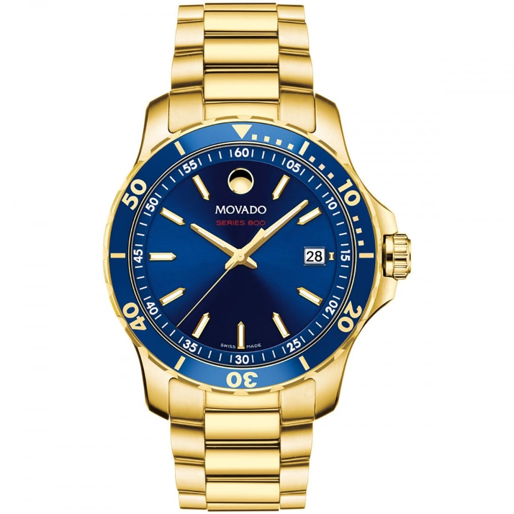 b3a2681ea542c Movado Men s Series 800 Blue Dial Gold Watch - Watches from Francis ...