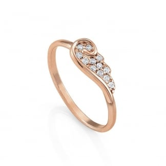 Ladies Rose Gold Angel Wing Ring Size M