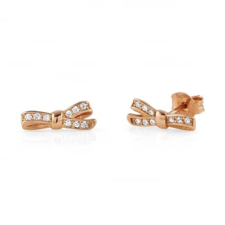 Ladies Rose Gold Stone Set My Cherie Bow Studs