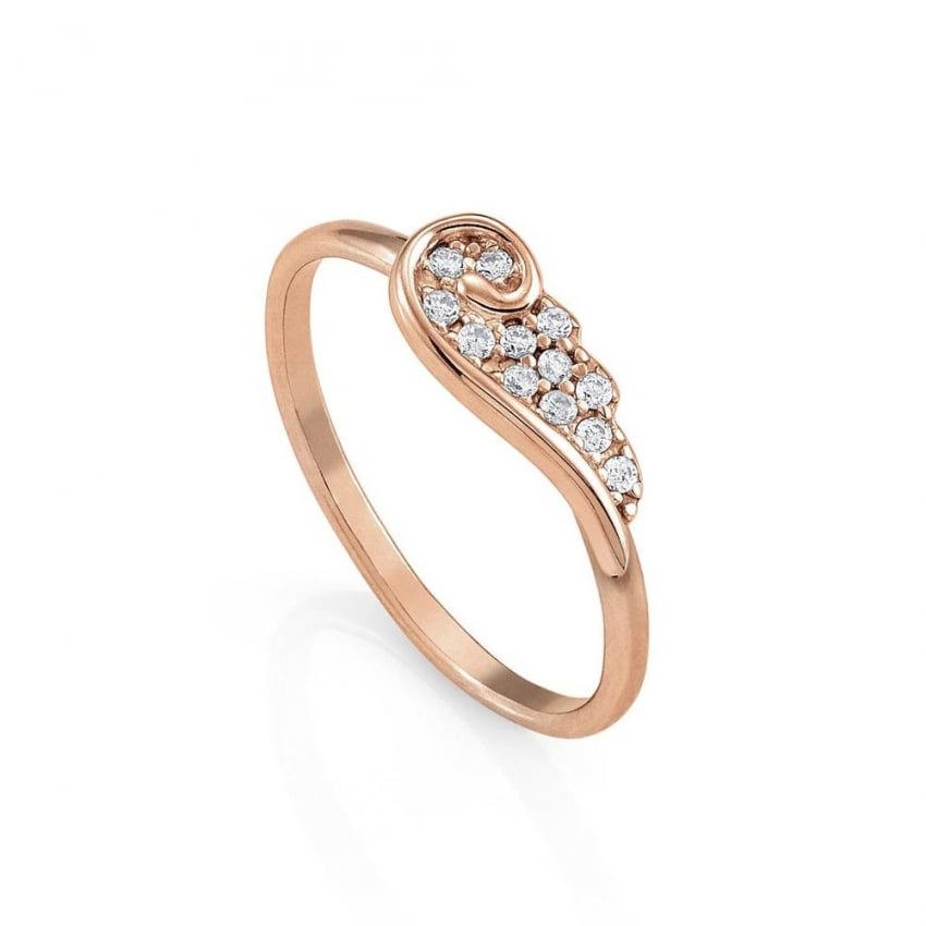 Nomination Rose Gold Stone Set Angel Wing Ring Size  M 145335/011/022